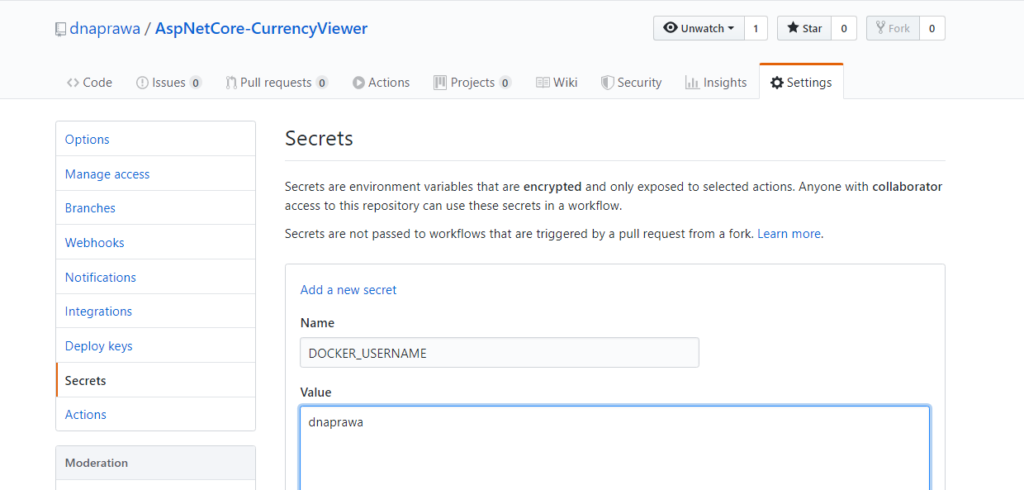 Tworzenie sekretów dla Docker Regsitry na Githubie