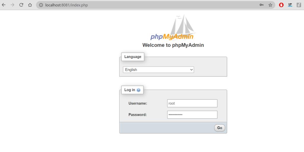 PhpMyAdmin docker mysql